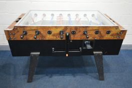 A COIN OPERATED FOOSBALL SOCCER TABLE, length 153cm x depth including handles 108cm x height 96cm (