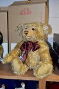 A BOXED STEIFF LIMITED EDITION YEAR 2000 TEDDY BEAR, blonde mohair, fully jointed with growler,