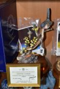 A HEREFORD FINE CHINA LIMITED EDITION MODEL OF A DARTFORD WARBLER, No. 3/250, with framed