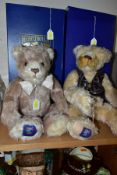 TWO BOXED MERRYTHOUGHT INTERNATIONAL COLLECTORS CLUB LIMITED EDITION JOINTED TERRY BEARS, one with