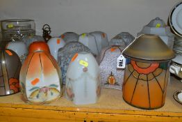 EIGHTEEN SMALL VINTAGE LAMPSHADES, mainly glass, in a range of styles, height of tallest 25cm,