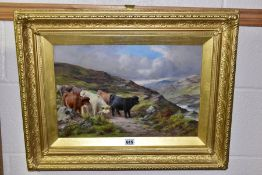 H J CARLTON KING (19TH/20TH CENTURY) Cattle within a mountainous landscape, signed bottom left,