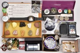 A BOX OF ASSORTED ITEMS, to include a 9ct gold pin badge in the form of a plane, hallmarked 9ct gold