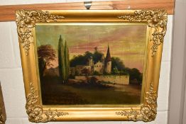 FOUR LATE 19TH/EARLY 20TH CENTURY OIL PAINTINGS, a Continental landscape featuring a castle and