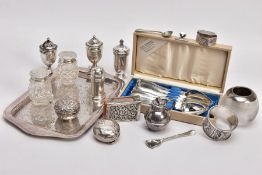 A SELECTION OF SILVER AND GLASS PEPPERETTES AND A GLASS MATCH TIDY, two sets and three single