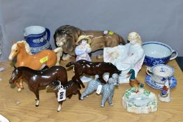 FOURTEEN ITEMS OF BESWICK AND OTHER CERAMICS comprising Beswick Palomino (prancing Arab type) H1261,