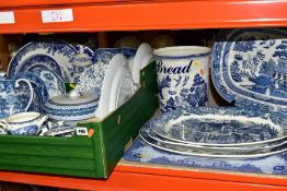 TWO BOXES AND LOOSE BLUE AND WHITE CERAMICS, to include several meat plates, largest 50cm x 38cm,