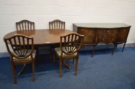 A STRONGBOW MAHOGANY DINING TABLE, four chairs and a matching sideboard, width 168cm (5)