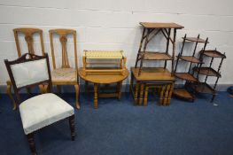 A SELECTION OF OCCASIONAL FURNITURE, oak nest of three tables, drop leaf occasional table, two