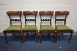 A SET OF FOUR REGENCY MAHOGANY BAR BACK CHAIRS, with a horizontal foliate splat, drop in seat