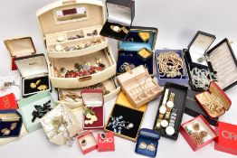 A BOX OF COSTUME JEWELLERY, to include a large quantity of costume jewellery, a silver multi