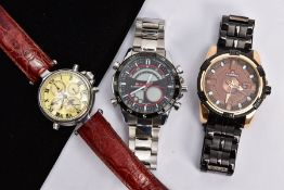 THREE GENTS FASHION WRISTWATCHES, to include two 'Naviforce' chronograph watches, one fitted with