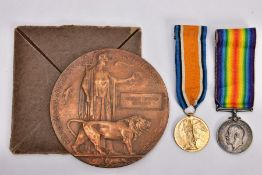A GROUP OF TWO WWI MEDALS, comprising British War Medal and a Victory medal together with a bronze