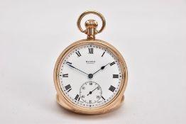 A 9CT GOLD 'BUREN' OPEN FACE POCKET WATCH, round gold dial signed 'Buren, Grand Prix', Roman