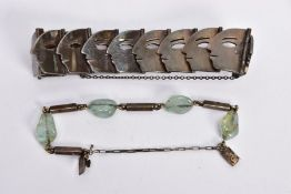 TWO MEXICAN BRACELETS, the first a panel bracelet, each overlapping hinged link designed as a face