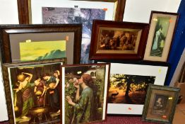 EIGHT FRAMED PRINTS, comprising prints of Pre-Raphaelite paintings, a German crystoleum style