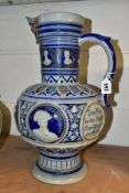 A GERZ STONEWARE OVERSIZED STEIN MOULDED WITH PORTRAITS OF RENAISSANCE ARTISTS AND INVENTORS, etc,