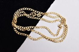 A 9CT GOLD FINE CURB LINK CHAIN, fitted with a spring clasp, hallmarked 9ct gold Sheffield, length
