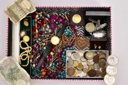 A BOX OF MAINLY JEWELLERY AND COINS, to include a late Victorian silver brooch, an oval locket
