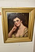 A 19TH CENTURY PORTRAIT OF A FEMALE BEAUTY, unsigned, oil on relined canvas, framed, approximate