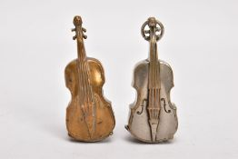 TWO BRASS VIOLIN VESTA CASES, both with hinged sprung striker bases, one with suspension loop,