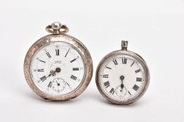 TWO OPEN FACE POCKET WATCHES, the first with a round white dial, Roman numerals, seconds