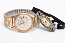 A LADIES SILVER WRISTWATCH AND A GENTS MONDAINE WRISTWATCH, the ladies watch with a curved