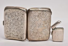 A SILVER CIGARETTE CASE AND A VESTA, rounded rectangular cigarette case with an engraved floral