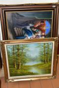 20TH CENTURY OIL PAINTINGS AND WALL ART, comprising a Roger Brown winter landscape, oil on canvas,