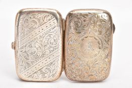 A GEORGE V SILVER CIGARETTE CASE, engraved floral and foliate design, with an engraved cartouche,