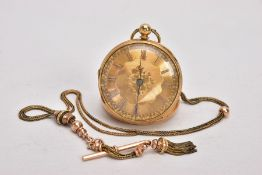 AN EARLY VICTORIAN 18CT GOLD OPEN FACE POCKET WATCH AND AN ALBERTINA, the gold coloured face with