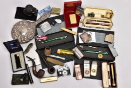 A BOX OF MAINLY PENS, LIGHTERS AND SMOKING PARAPHERNALIA, to include a cased Ronson lighter, a