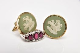 A WHITE METAL GARNET RING AND A PAIR OF YELLOW METAL WEDGWOOD CUFFLINKS, the ring designed as a