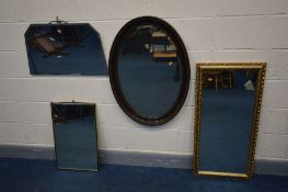 FOUR VARIOUS WALL MIRRORS, to include an oval bevelled edge mirror and a foliate gilt framed mirror