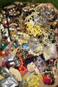 A BOX OF COSTUME JEWELLEY, to include a small bag of yellow metal jewellery, gross weight 3.1 grams,