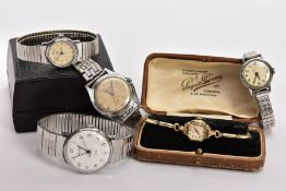 FOUR GENTS WRISTWATCHES AND A LADIES GOLD-PLATED WRISTWATCH, the gents watches to include names such