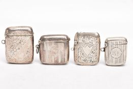FOUR EARLY 20TH CENTURY SILVER VESTAS, two engraved with a foliate design and vacant cartouches,