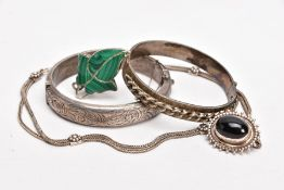 TWO SILVER BANGLES, A WHITE METAL BROOCH AND A PENDANT NECKLACE, the first bangle designed with a