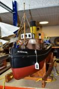 MODEL BOAT 'PATRICIA ANN' in wooden stand, approximately 85cm x 53cm (fitted with remote control
