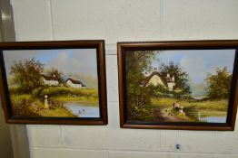 LES PARSON (BRITISH 1945), two nostalgic themed oils on canvas, the first depicts children fishing