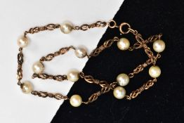 A CULTURED PEARL NECKLACE, designed as twelve cultured pearls interspaced by fancy twist links, to