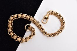 A 9CT GOLD ROLLER BALL BRACELET, textured roller ball links interspaced with plain polished jump