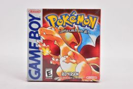 A SEALED BOXED NORTH AMERICAN COPY OF POKEMON RED FOR THE GAMEBOY, the ESRB age rating logo, is of