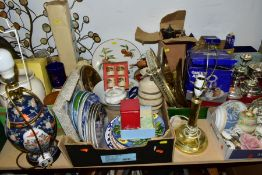 FOUR BOXES AND LOOSE CERAMICS, FISHING EQUIPMENT, GLASS, METALWARES, ETC, to include two lamps,