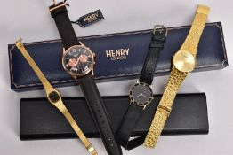 FOUR FASHION WRISTWATCHES, to include a gents boxed 'Henry' wristwatch, round black and rose gold