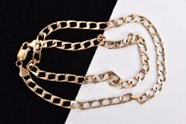 A 9CT GOLD METRIC CURB LINK NECKLACE, measuring approximately 440mm in length, hallmarked 9ct