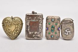 FOUR METAL VESTAS, the first with triskelion symbol to the front, a heart shape vesta, one with