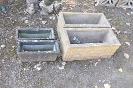 TWO PAIRS OF RECTANGULAR GARDEN PLANTERS, one pair with brickwork to all facets largest length