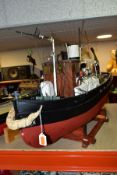 MODEL BOAT 'LORD DERBY, DUBLIN' in wooden stand, approximately length 88cm, height 58cm, quite