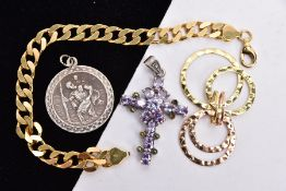A BAG OF ASSORTED JEWELLERY, to include a silver gilt curb link bracelet, fitted with a lobster claw